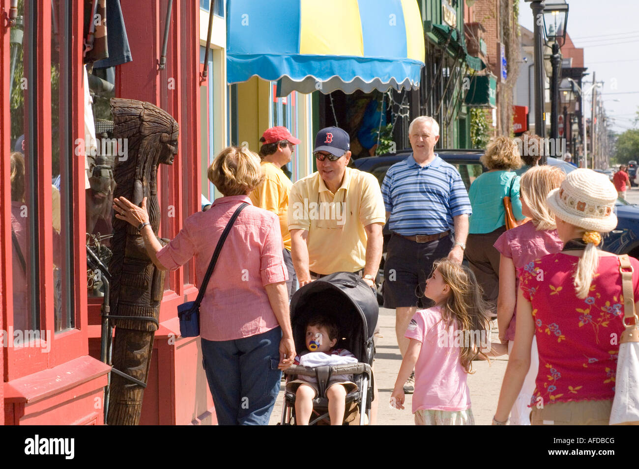 tourists in Newport Rhode Island - Stock Image