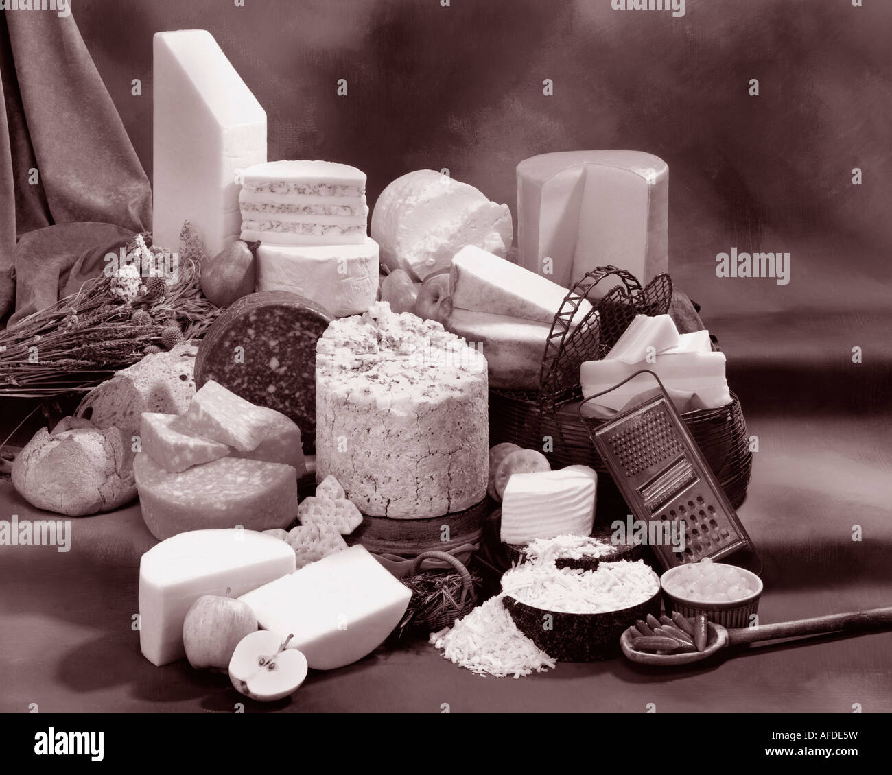 English Cheeses in group sepia photograph on warm toned mottled background. Horizontal  Format, studio tabletop. Stock Photo