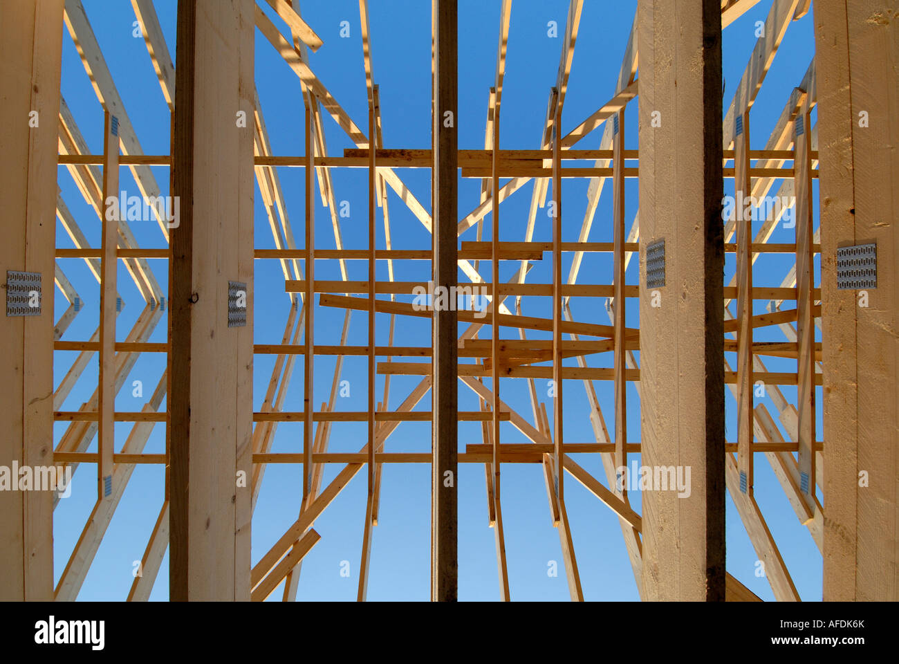 Roof trusses of new house, France. - Stock Image
