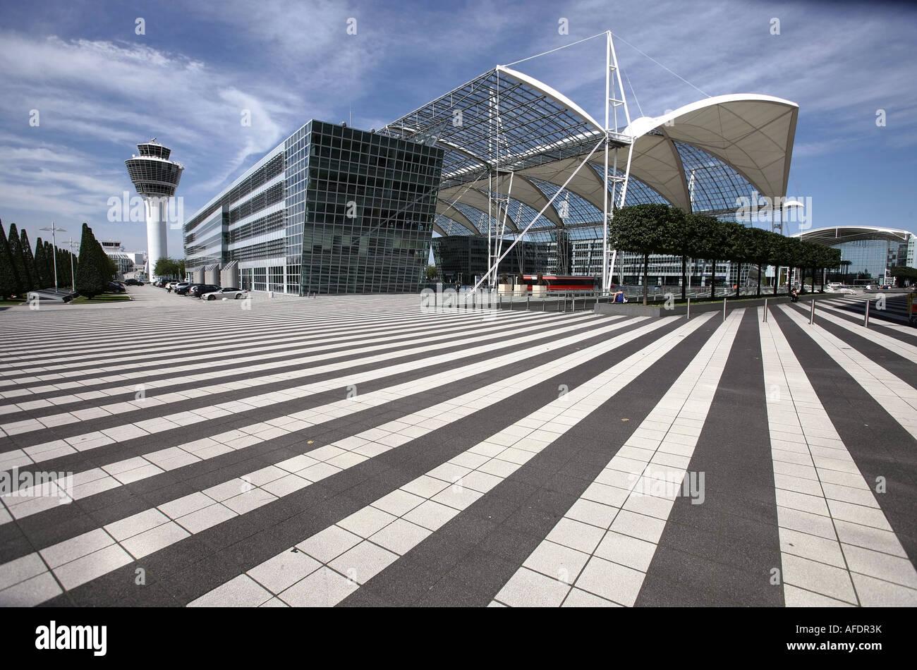 Illustration Airport: Terminal 1  crosswalk at Munich Airport - Stock Image