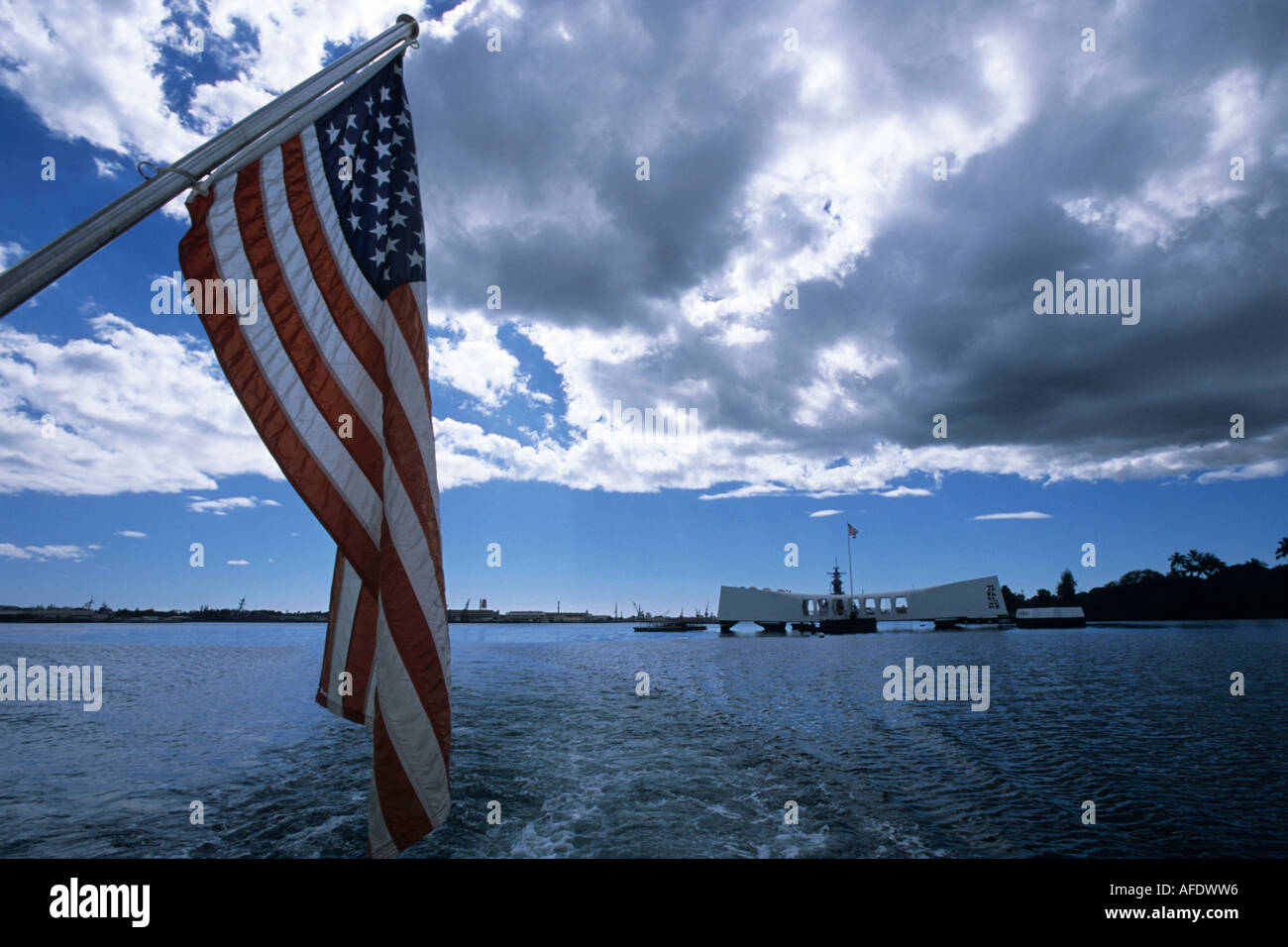USS Arizona Memorial, Pearl Harbor, Honolulu, Oahu, Hawaii, USA Stock Photo