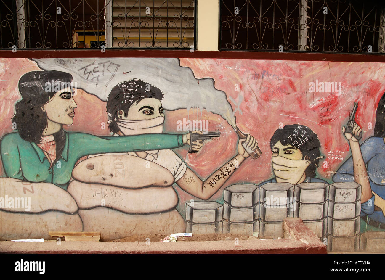 Wall mural depicting the Nicaraguan Revolution led by the FSLN against the Somoza governement, Jinotega, Nicaragua Stock Photo