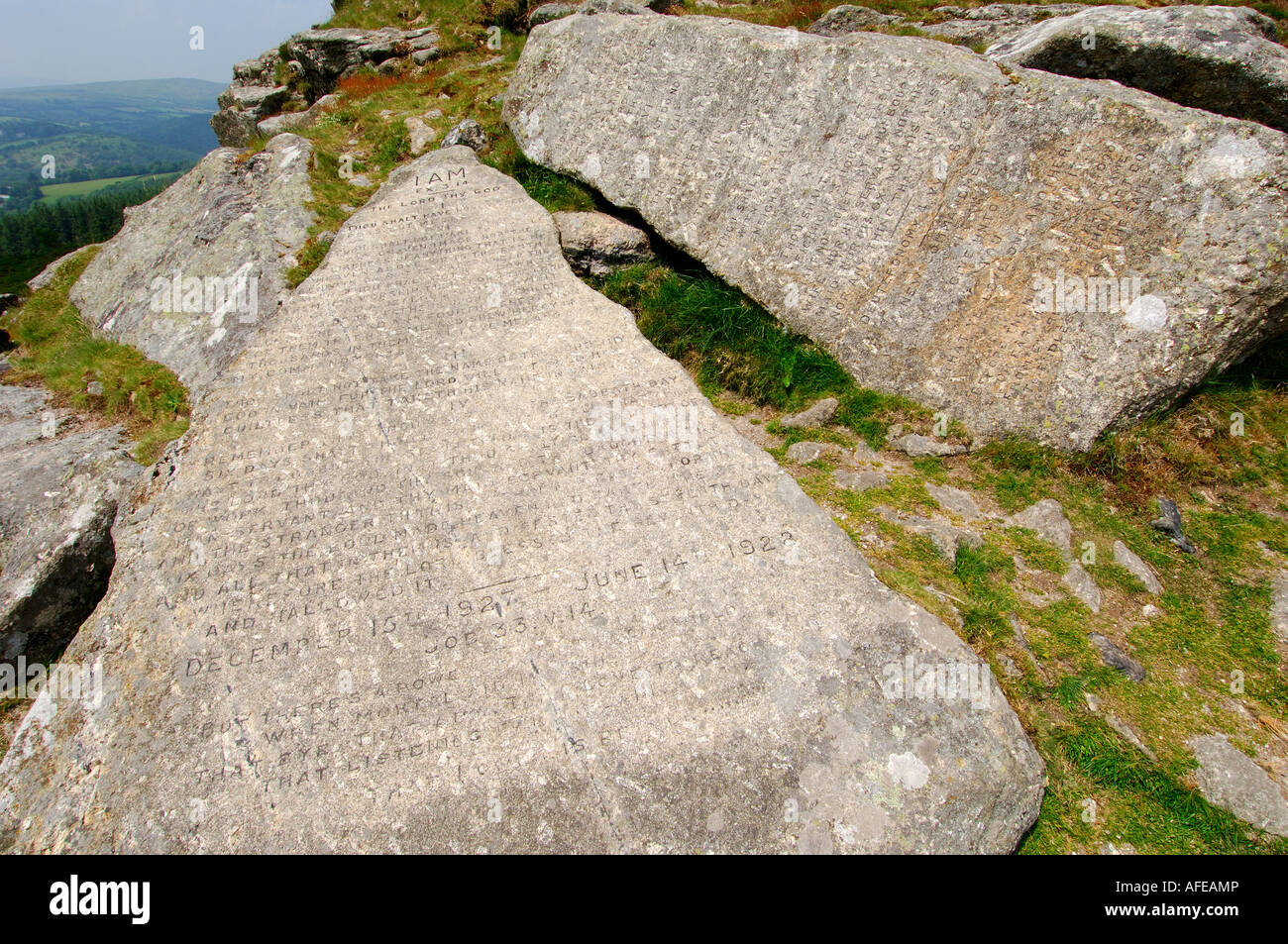 The two Commandment Stones at Buckland Beacon on Dartmoor carved with Christian text - Stock Image
