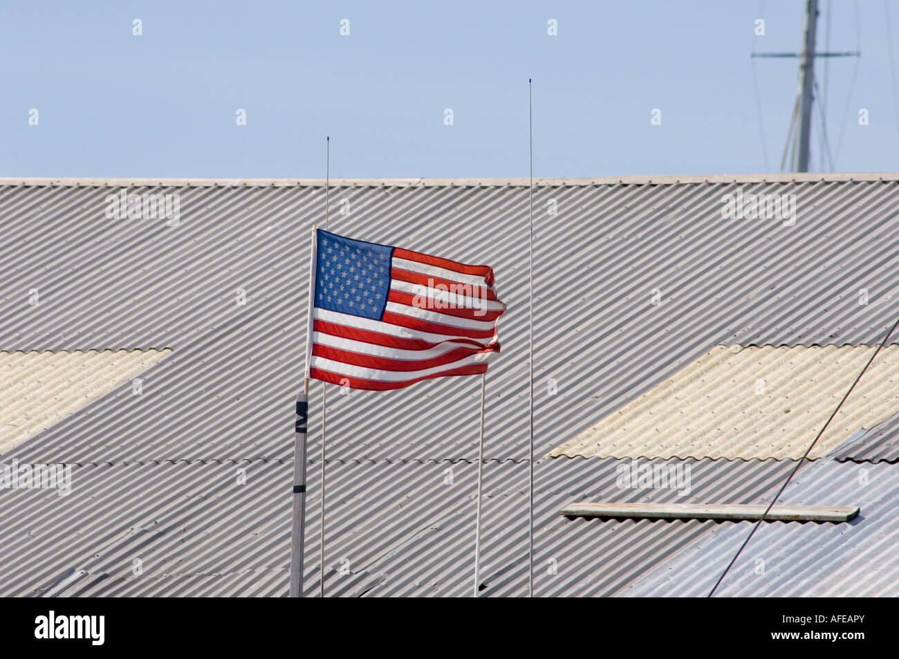 american flag at a marina in newport rhode island - Stock Image