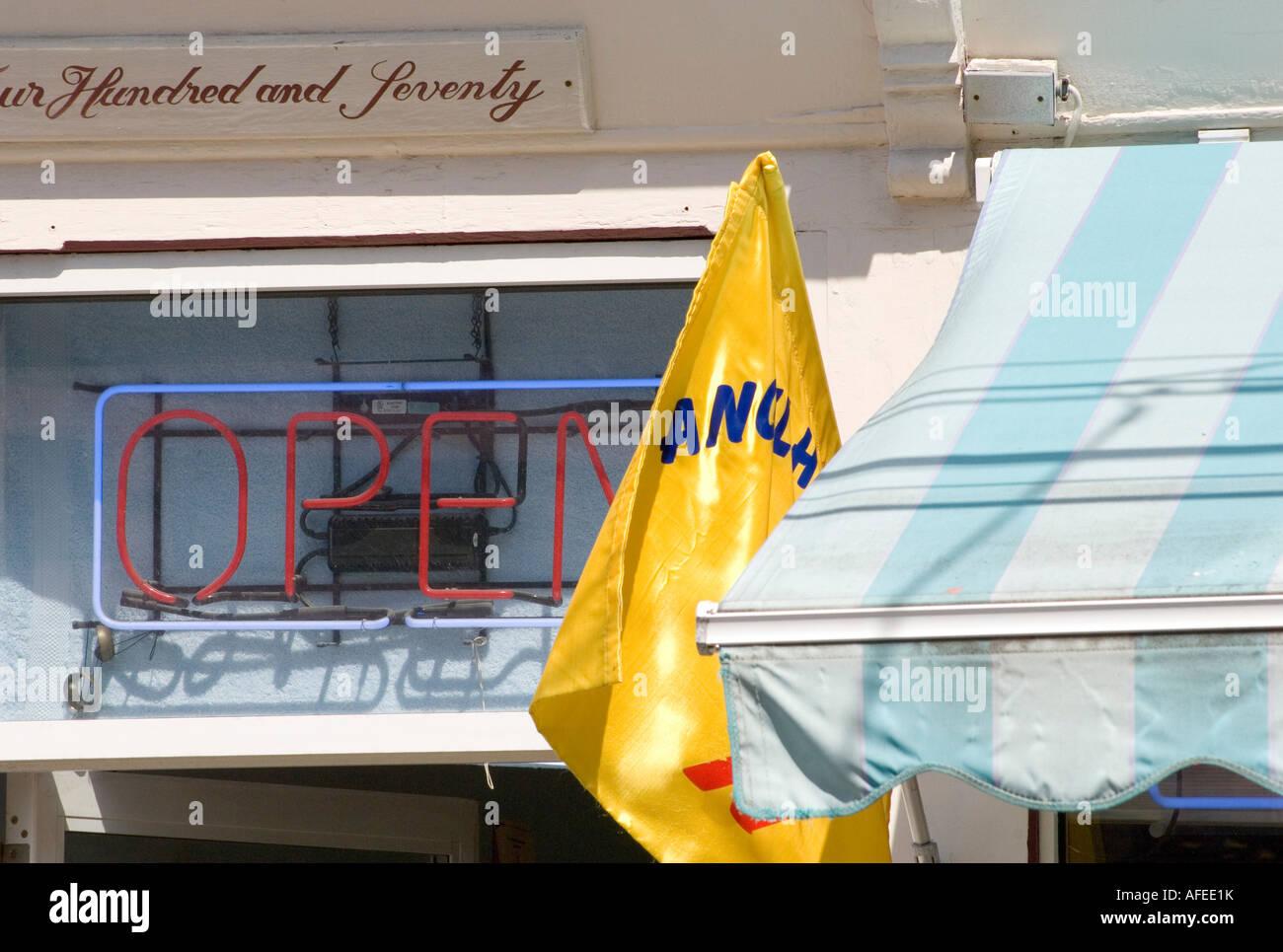 open neon sign on thames street in newport rhode island - Stock Image