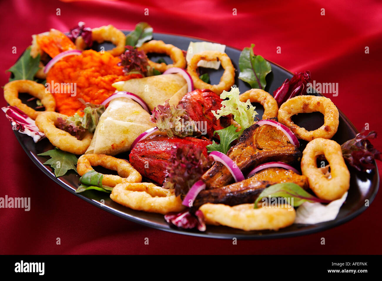 Indian Food Platter Starter To Share Stock Photo Alamy