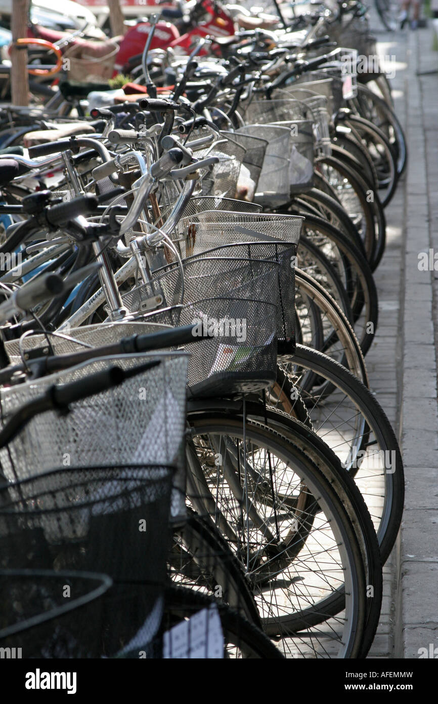 bicycles parking yinchuan town ningxia china August 2007 Stock Photo
