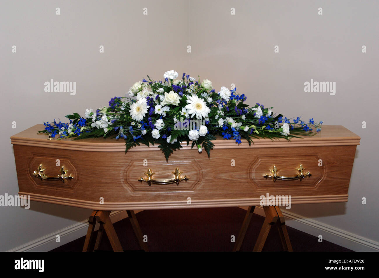 Coffin in an undertakers - Stock Image