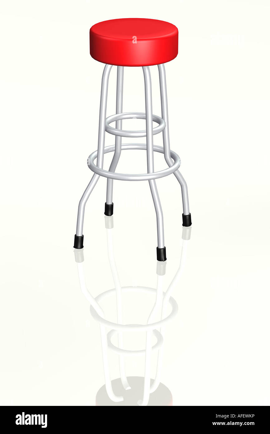 Bar stool 3d concept illustration - Stock Image