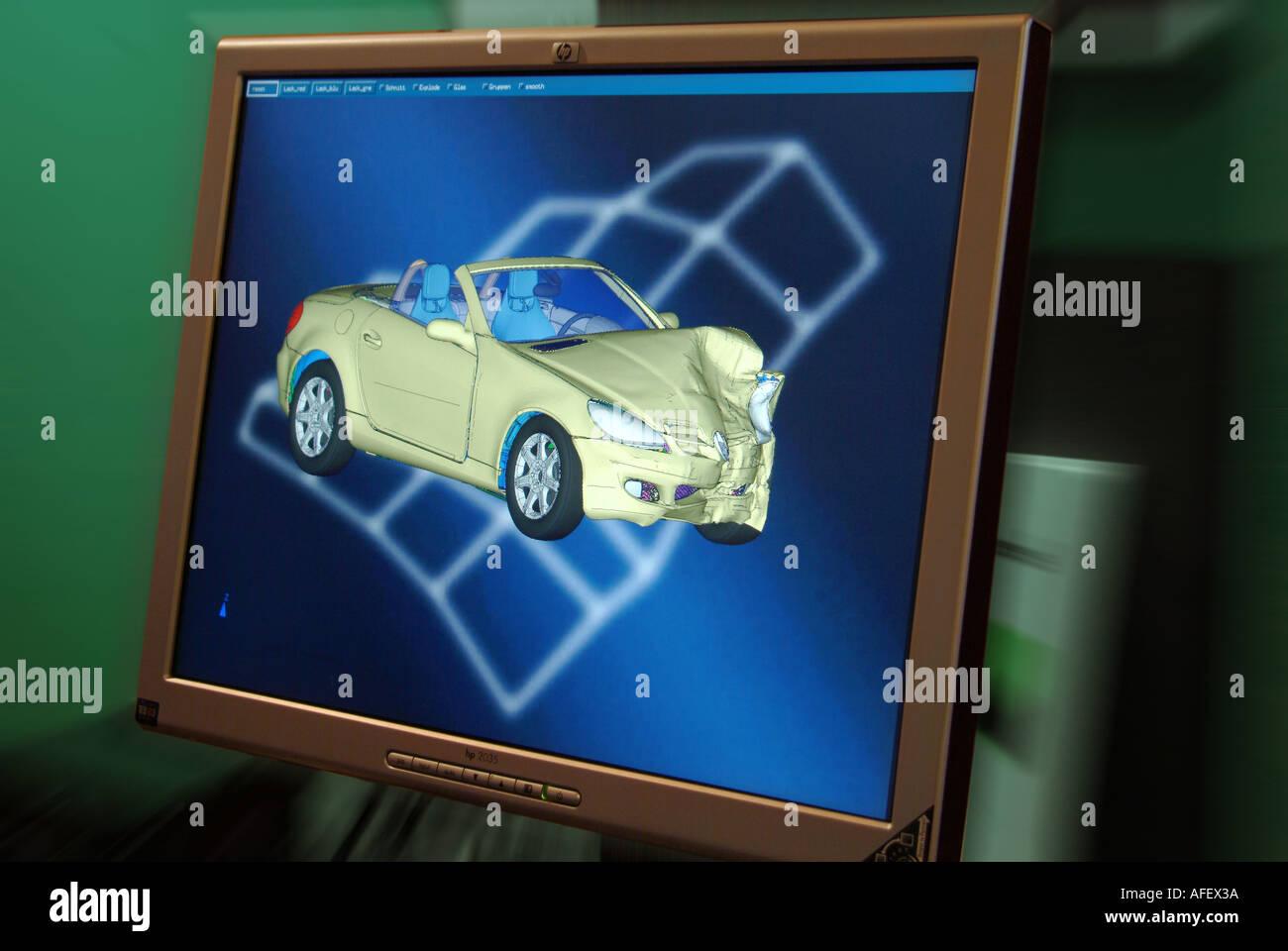 crashtest simulation Virtuelle rechnergestützte Unfallforschung - Stock Image