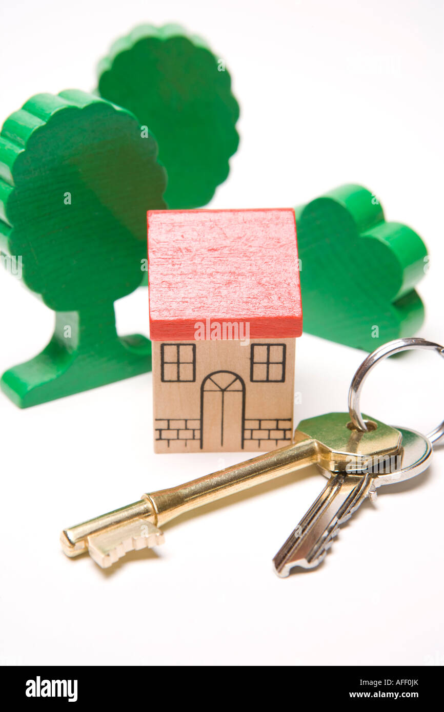 Real estate Keys to dream home in the suburbs or the country or house property security protection - Stock Image