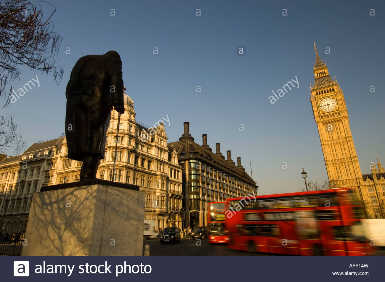 Statue Of Winston Churchill & Big Ben On Parliament Square - Stock Image