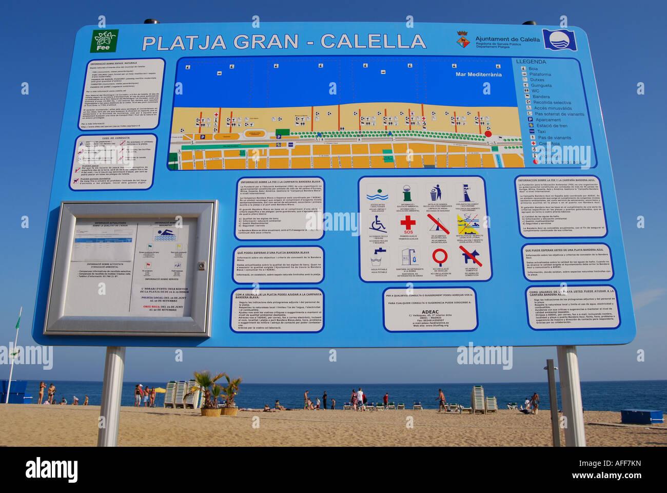 beach sign Calella Costa Dorada Spain - Stock Image