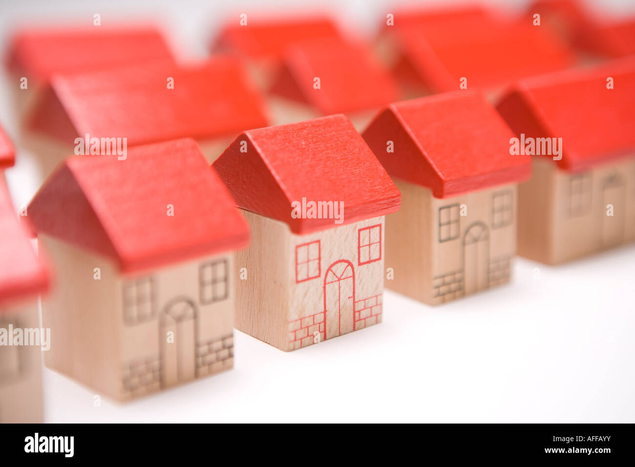 Rows of houses in a housing estate Home sweet home my house or property with individual character, real estate - Stock Image