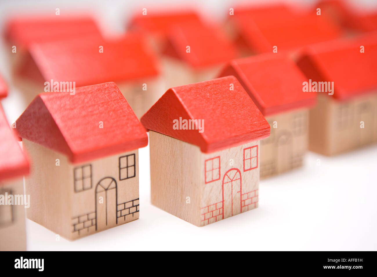 Rows of houses in a housing estate Home sweet home my house or property with individual character - Stock Image