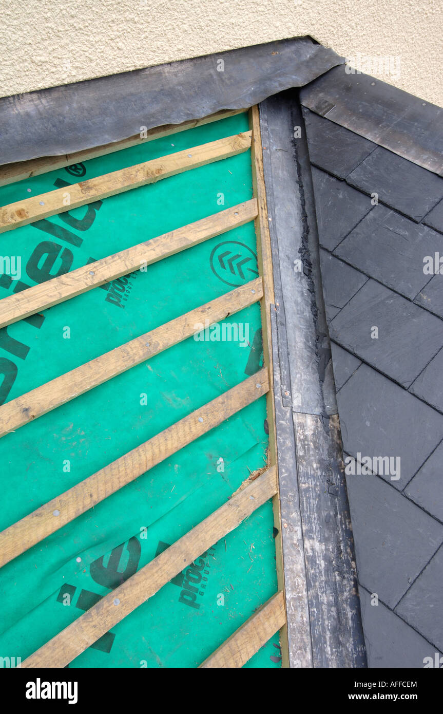 A Section Of A Slate Roof Under Construction Showing The
