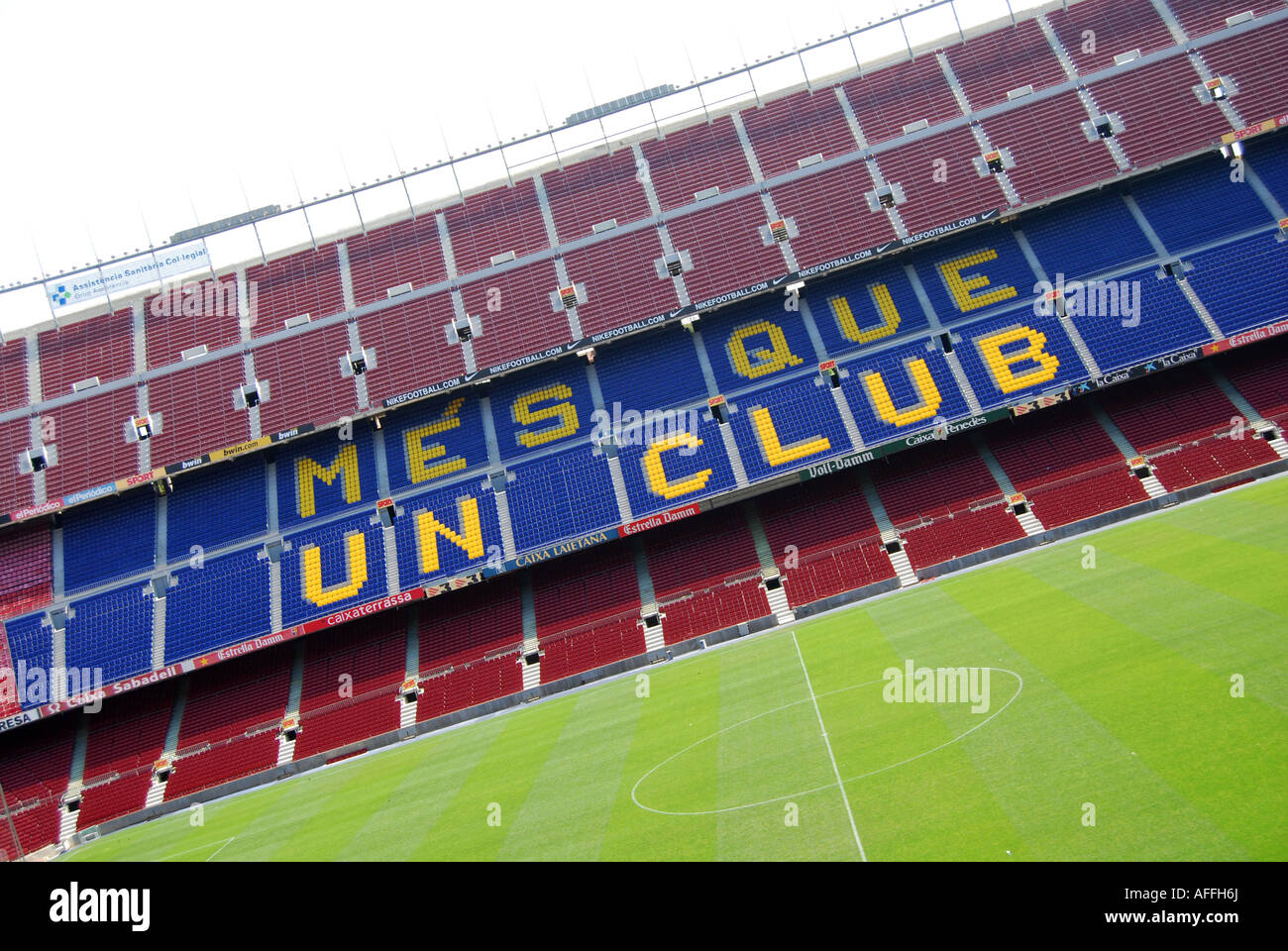 empty seats in stadium of Barcelona football club Spain - Stock Image