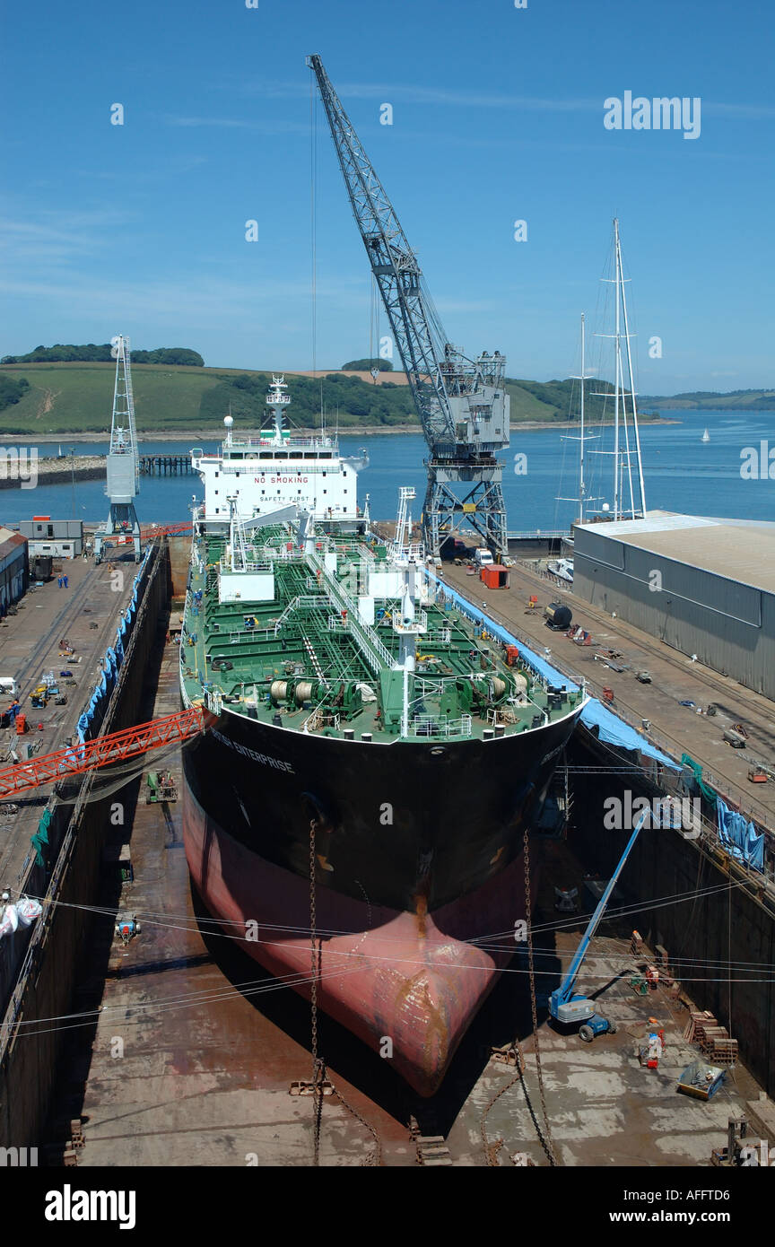 England, Cornwall, Falmouth, cargo ship in dry dock - Stock Image