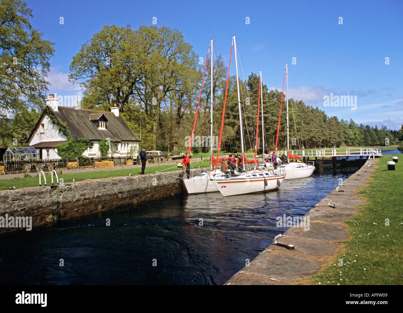 Kytra Lock near Fort Augustus on the Caledonian Canal - Stock Image