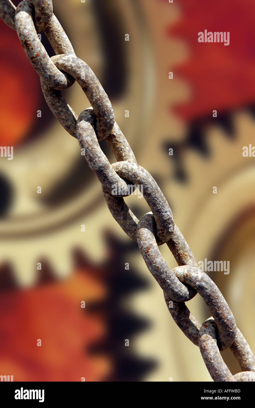 industrial chain and cog wheels - Stock Image