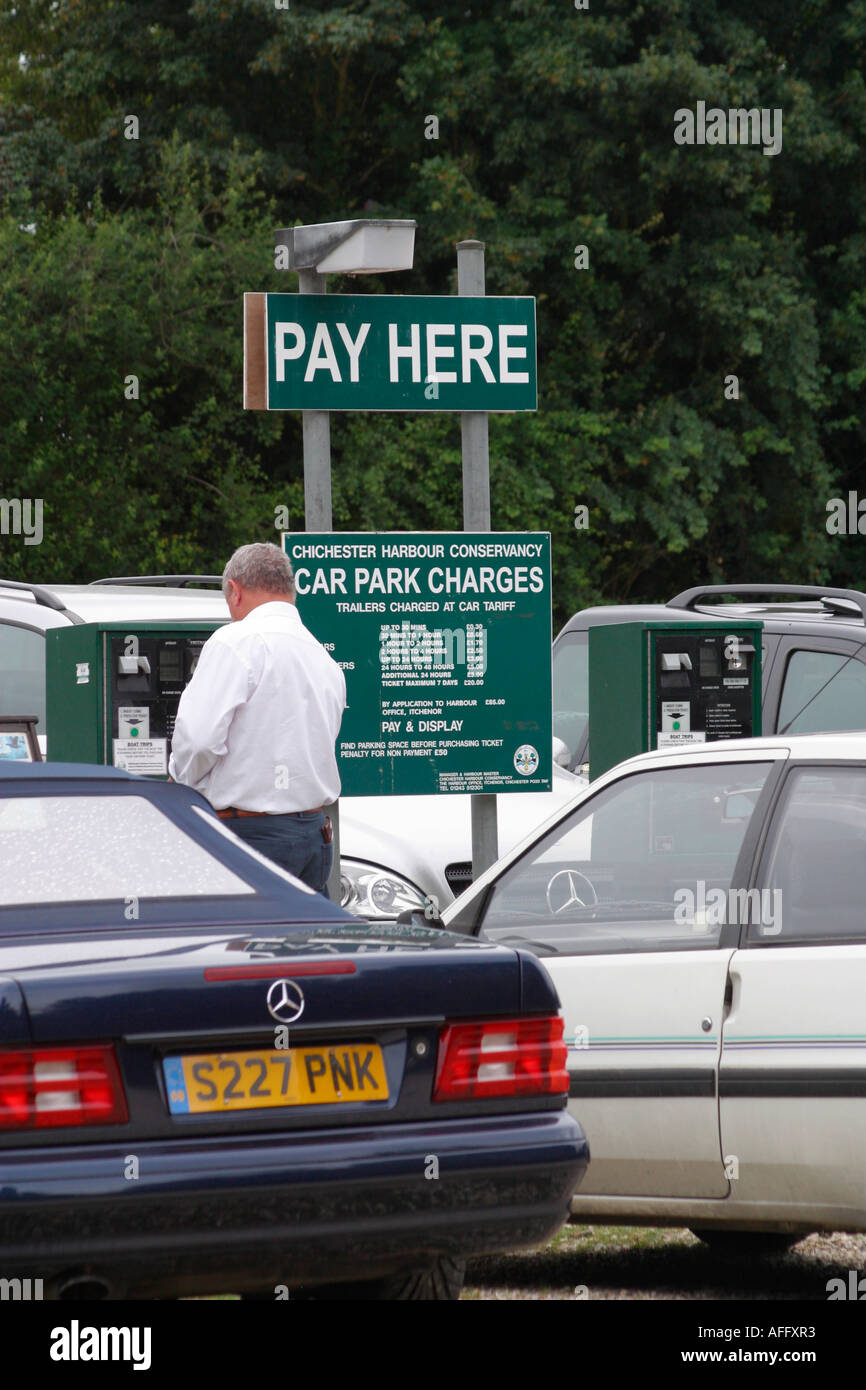Pay and display car park at Itchenor, West Sussex - Stock Image