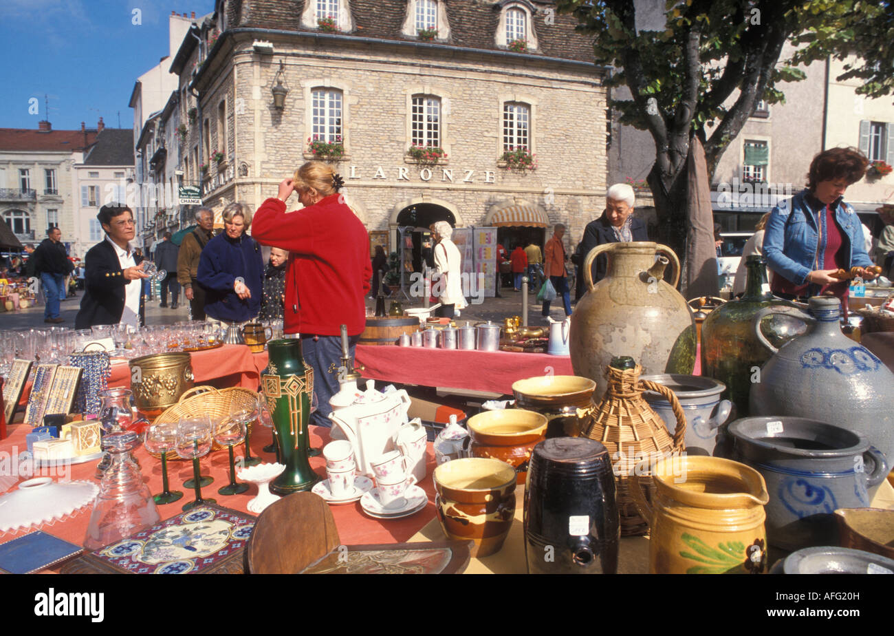 Antique Market at the Place Carnot in Beaune Burgundy France - Stock Image