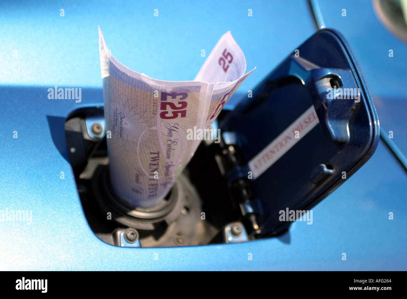 Fake Pound Notes placed in a Fuel Filler cap - Stock Image