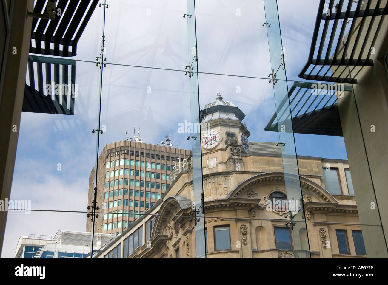 Old and new Cardiff- view from Queens Arcade - Stock Image