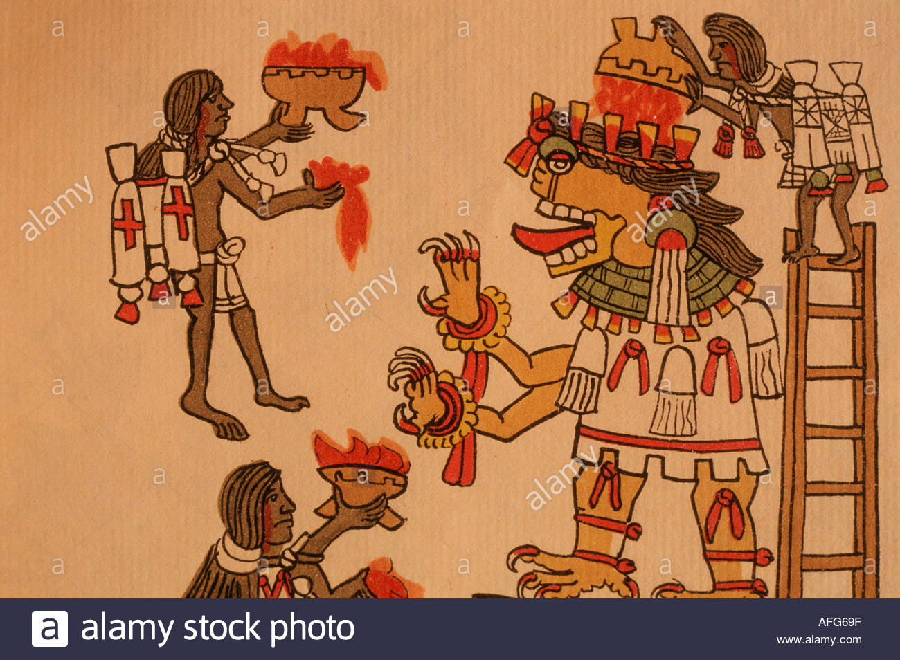 MEXICO, Aztec Magliabecchiano codex : pouring blood on the God of Death : Mictlantecutli. Coll. Mexico National Library. - Stock Image