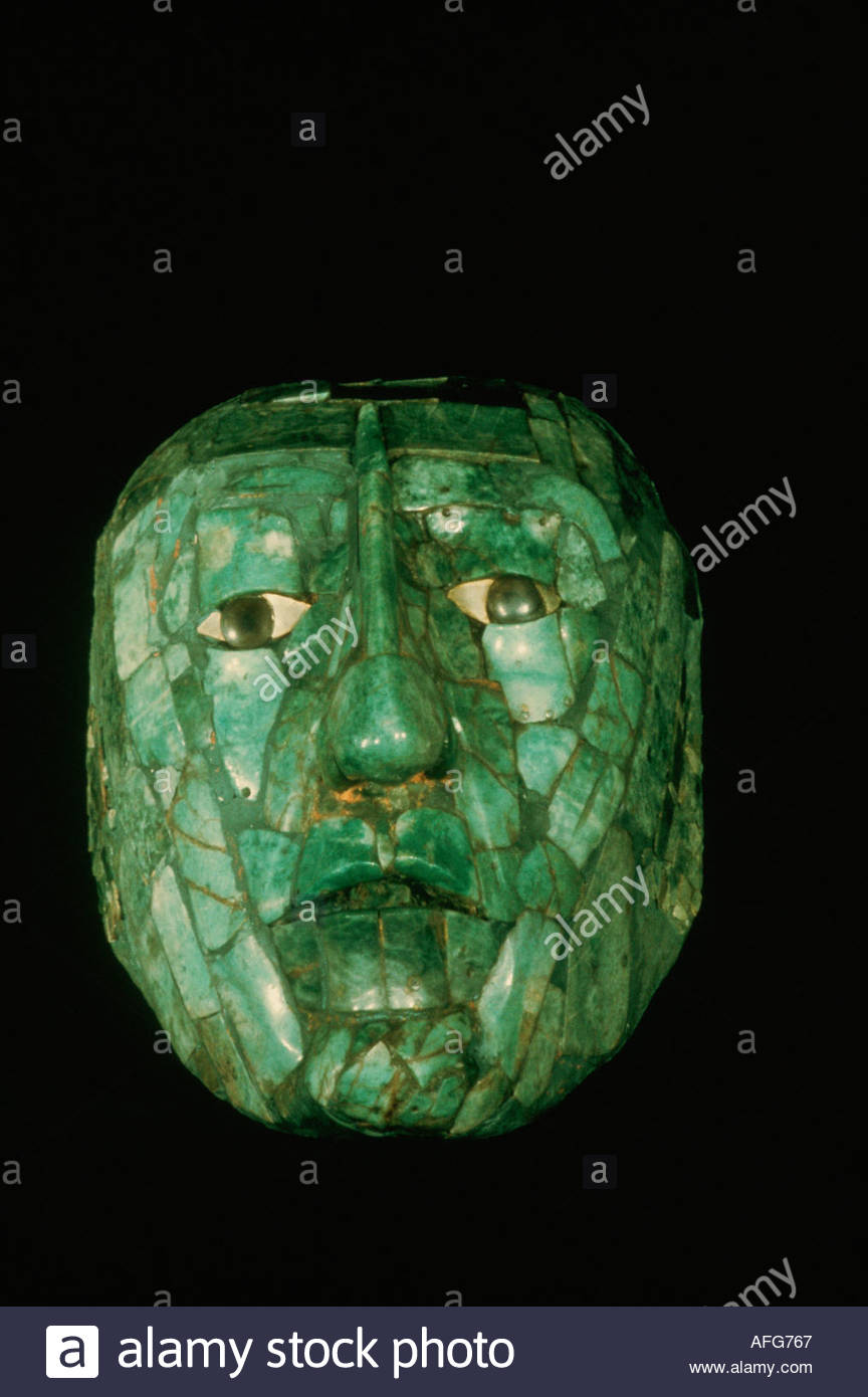 MEXICO Chiapas, Palenque, Maya culture, jade funerary mask found in the tomb of King Pacal. - Stock Image