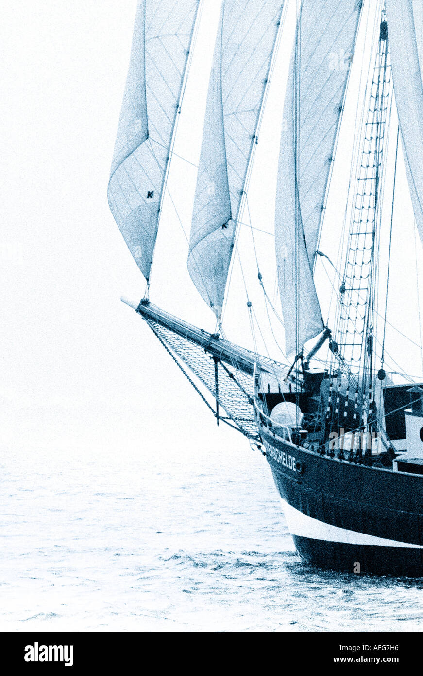 bcvr 50 Dreimast Gaffelschoner auf der Ostsee Fore and aft schooner on the Baltic Sea - Stock Image