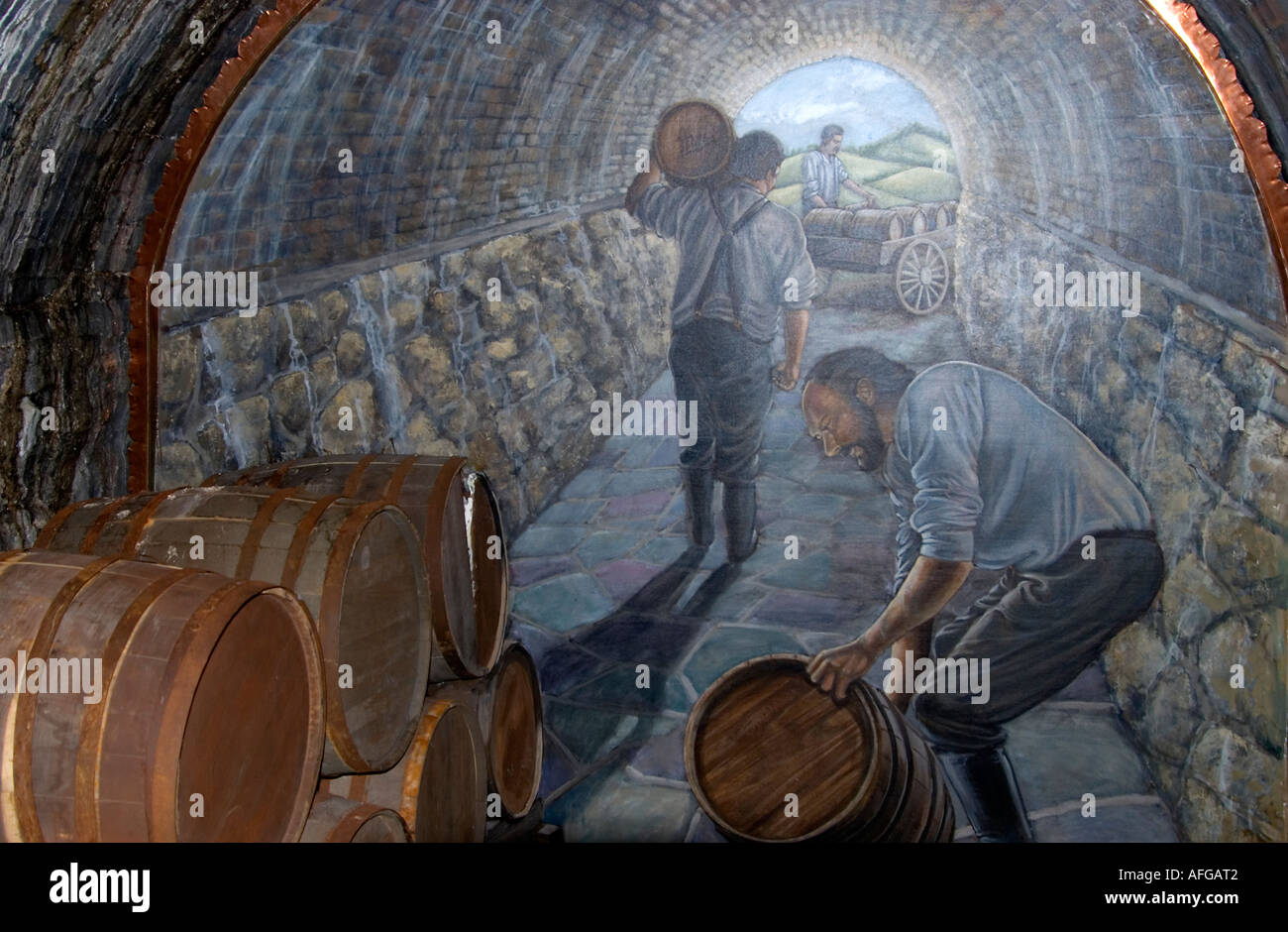 Miller Brewery Wall Mural depicting cold storage cave. & Miller Brewery Wall Mural depicting cold storage cave Stock Photo ...