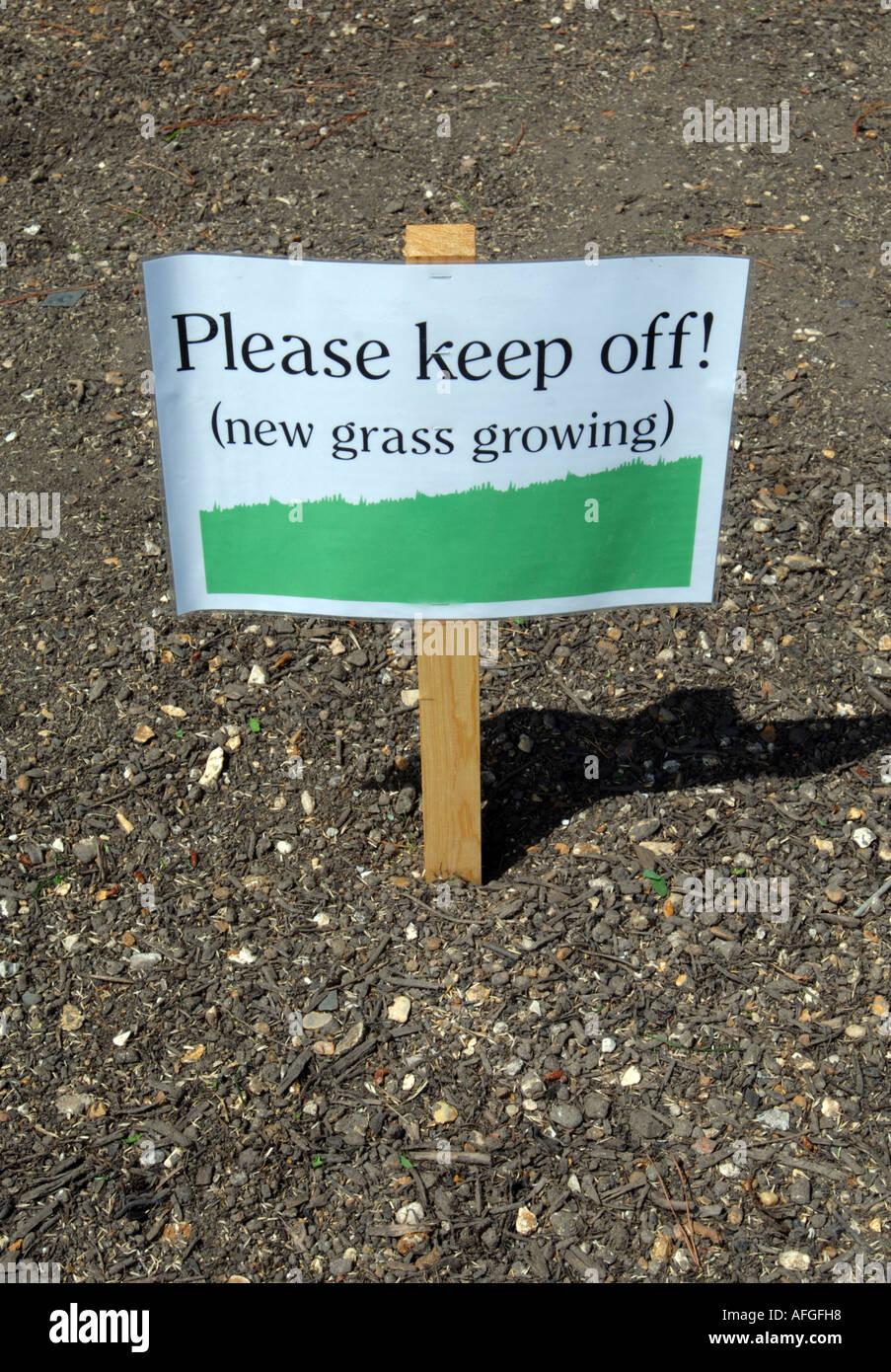 Please Keep Off, New Grass Growing Sign Stock Photo