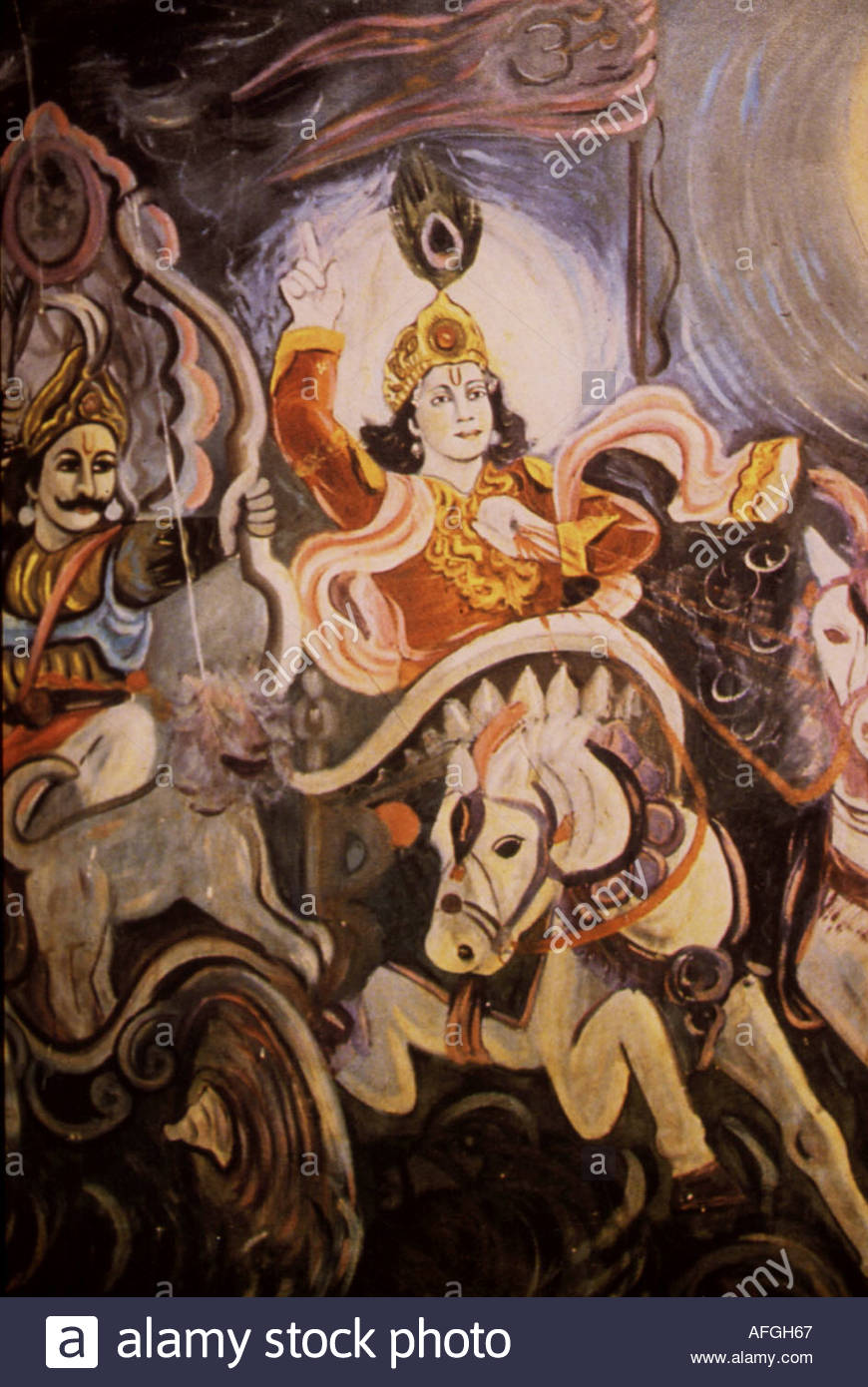 indian folk art depicting lord krishna with arjuna riding in the chariot AFGH67