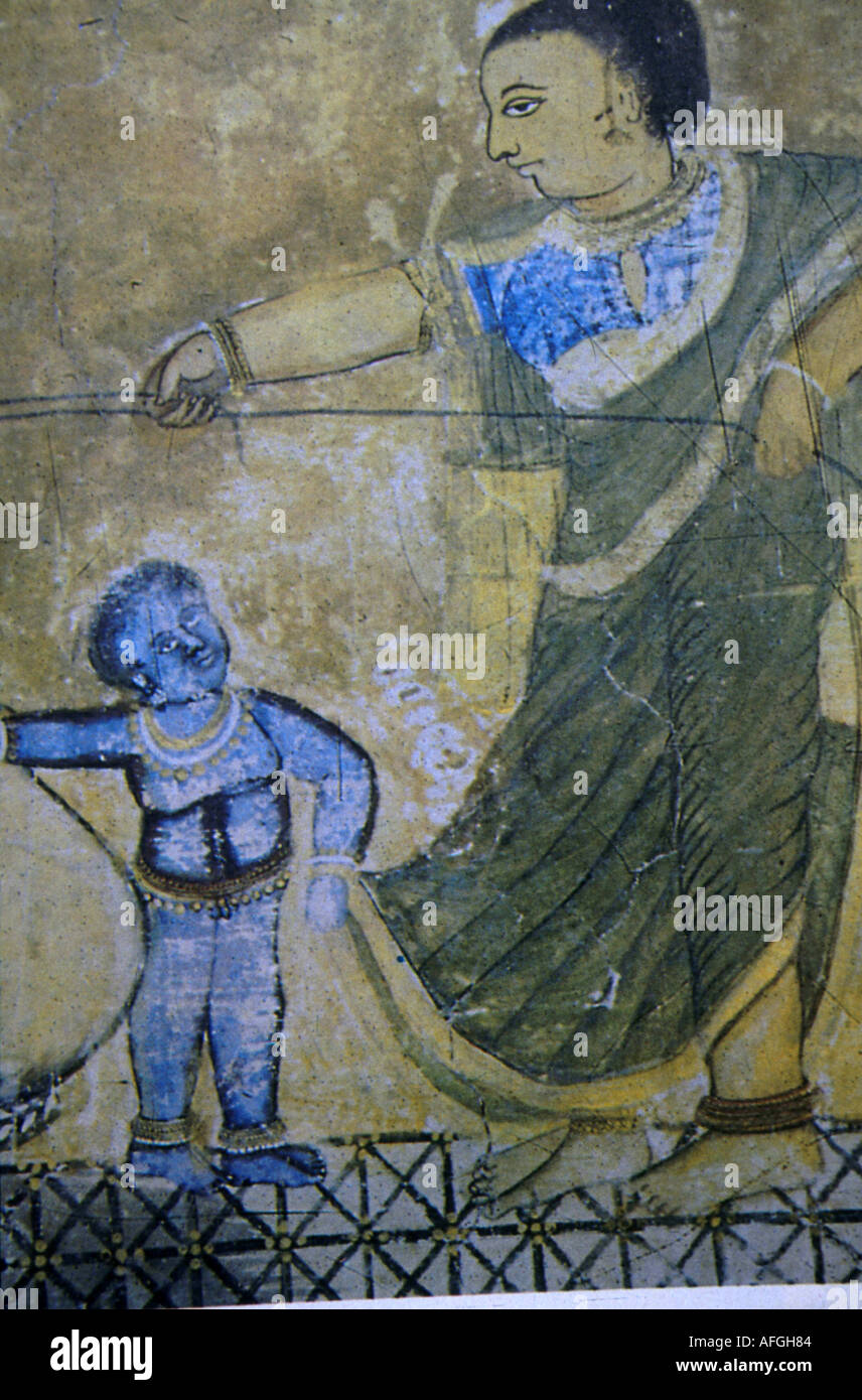 Painting of Lord Krishna as a young boy - Stock Image