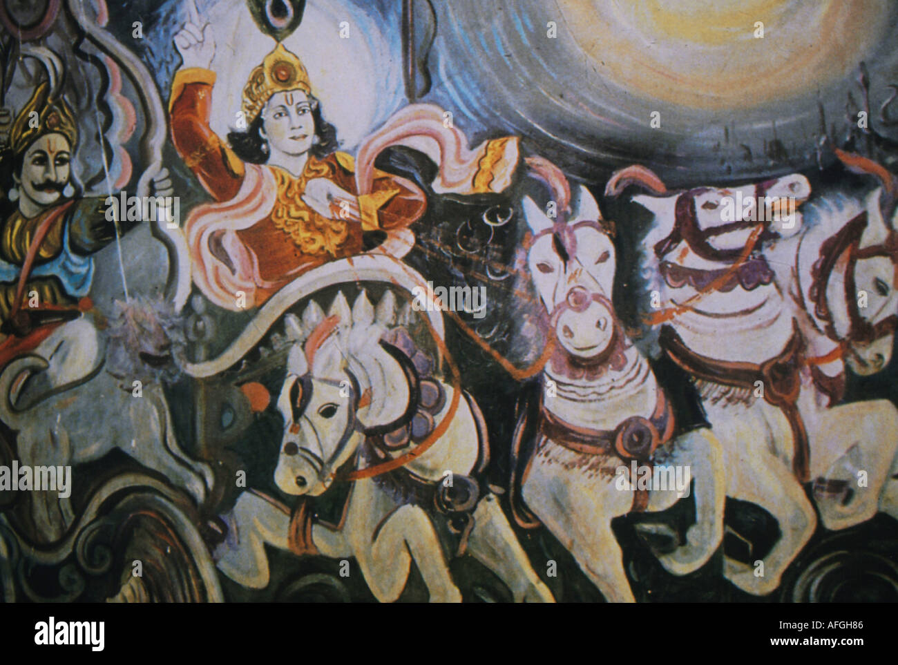 Folk art depicting Krishna in a chariot from the Bhagavad Gita - Stock Image