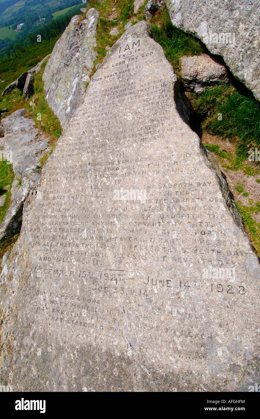 One of the two Commandment Stones at Buckland Beacon on Dartmoor carved with Christian text - Stock Image