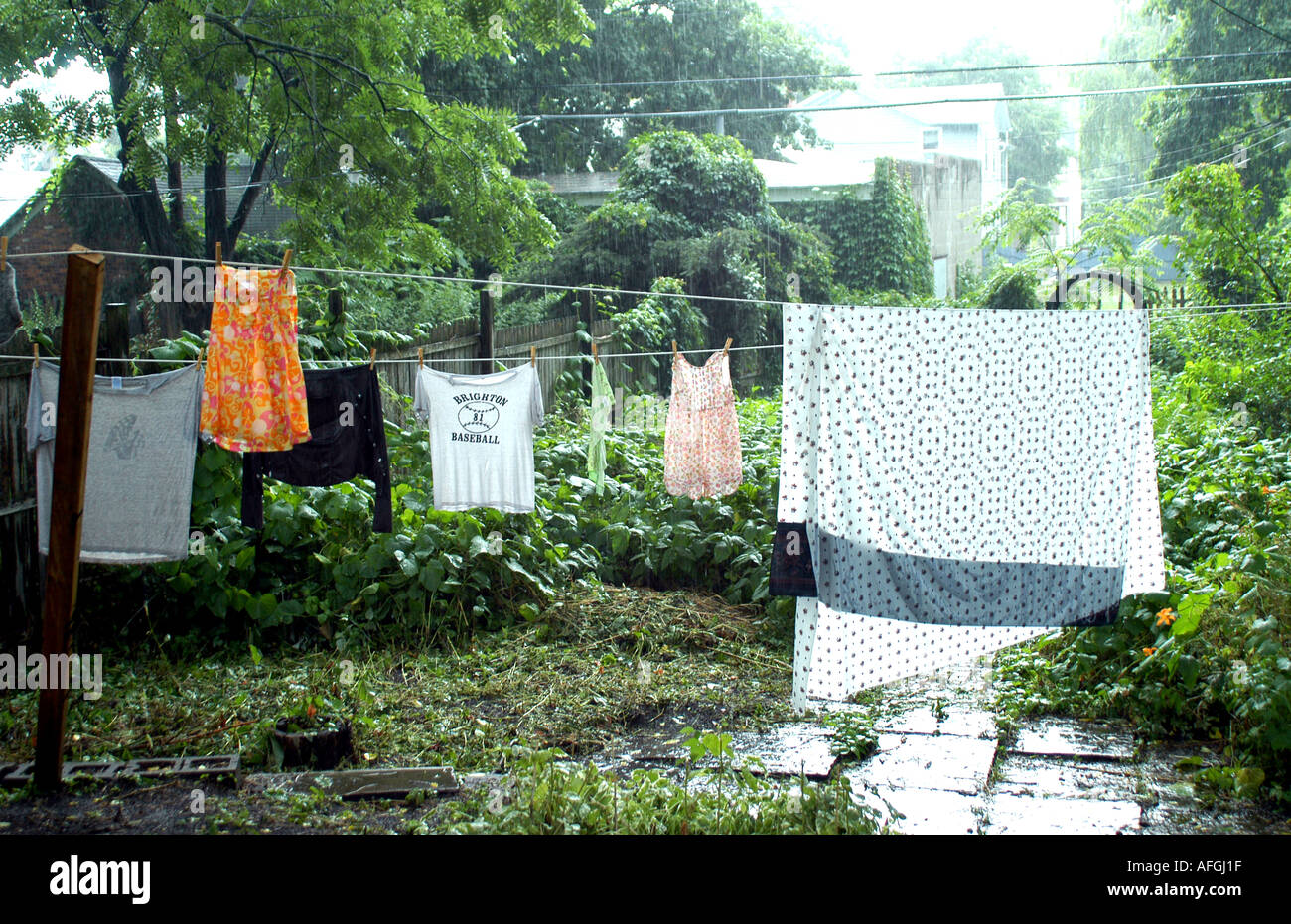 Laundry on line in rain Stock Photo: 4551198 - Alamy