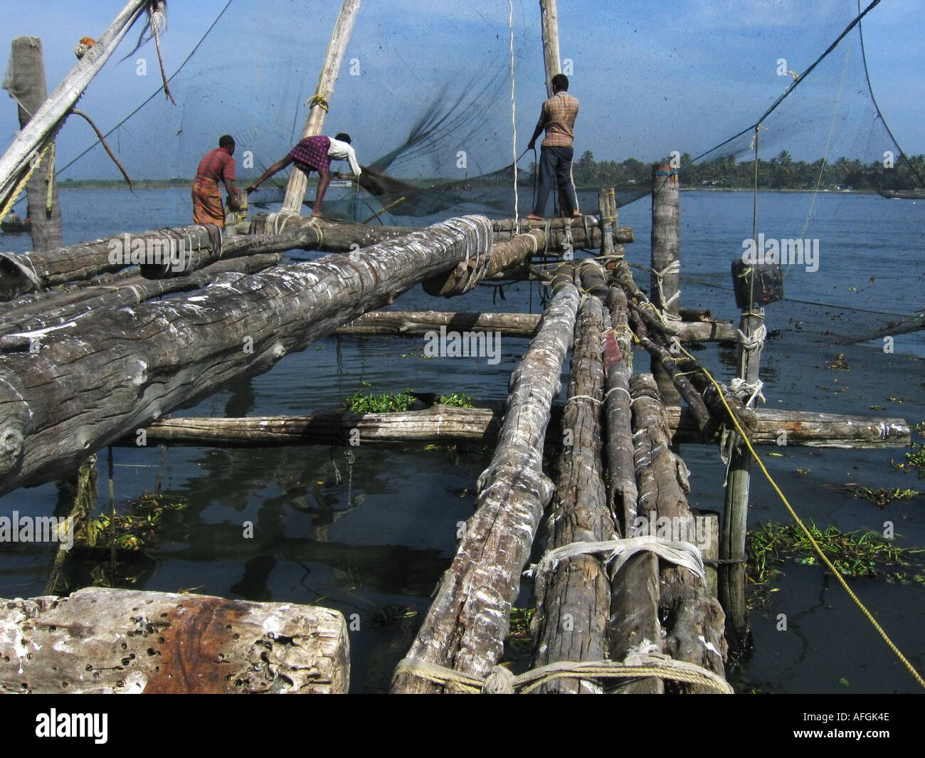 The Chinese fishing nets on River Road in Fort Cochin facing the Arabian Sea in Kerala in India - Stock Image