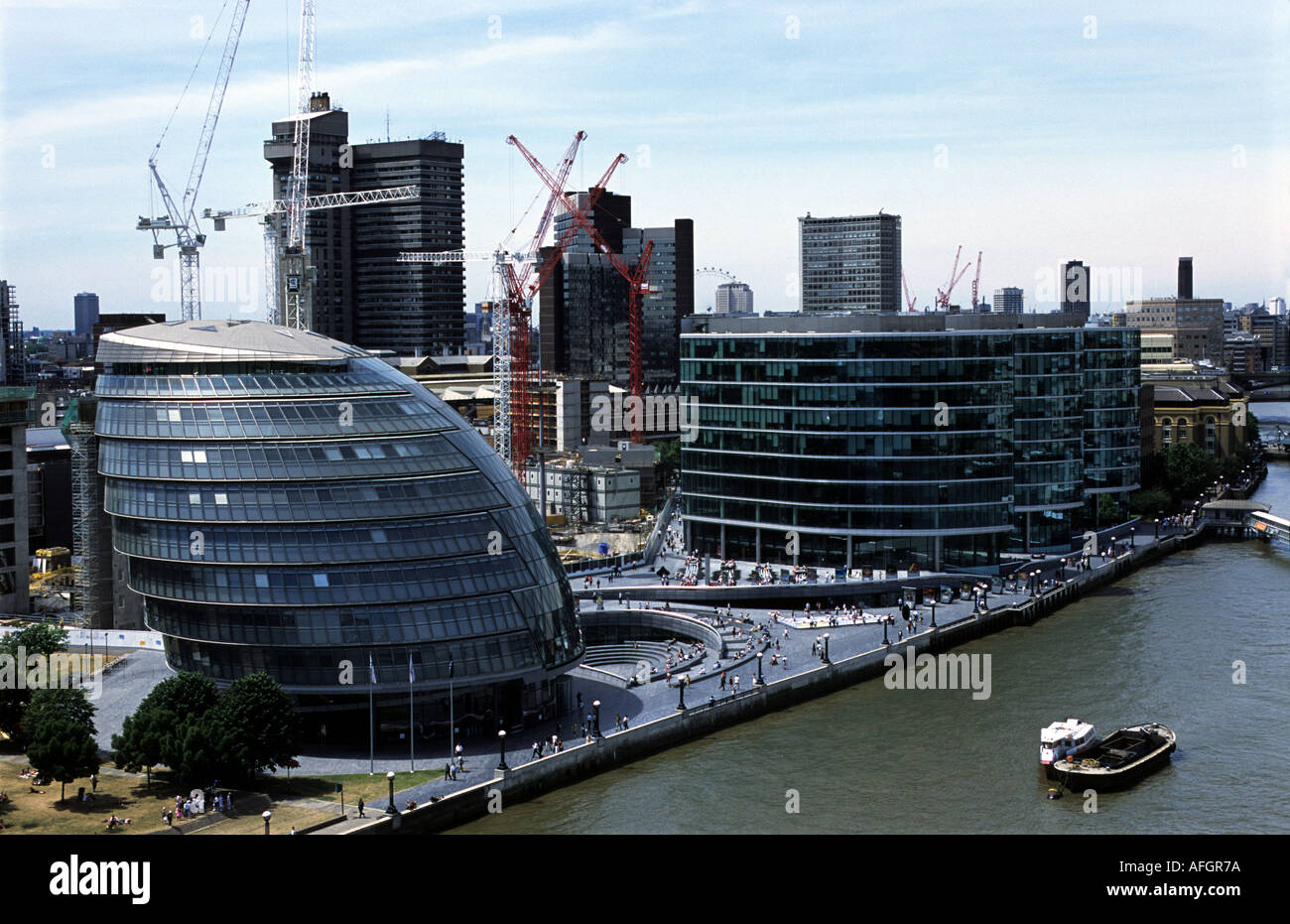 The London assembly building on the river Thames Stock Photo