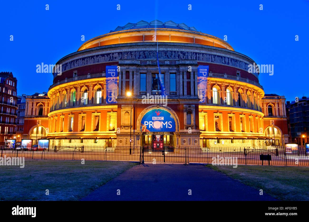 Night view Royal Albert Hall, Kensington, London, United Kingdom Stock Photo