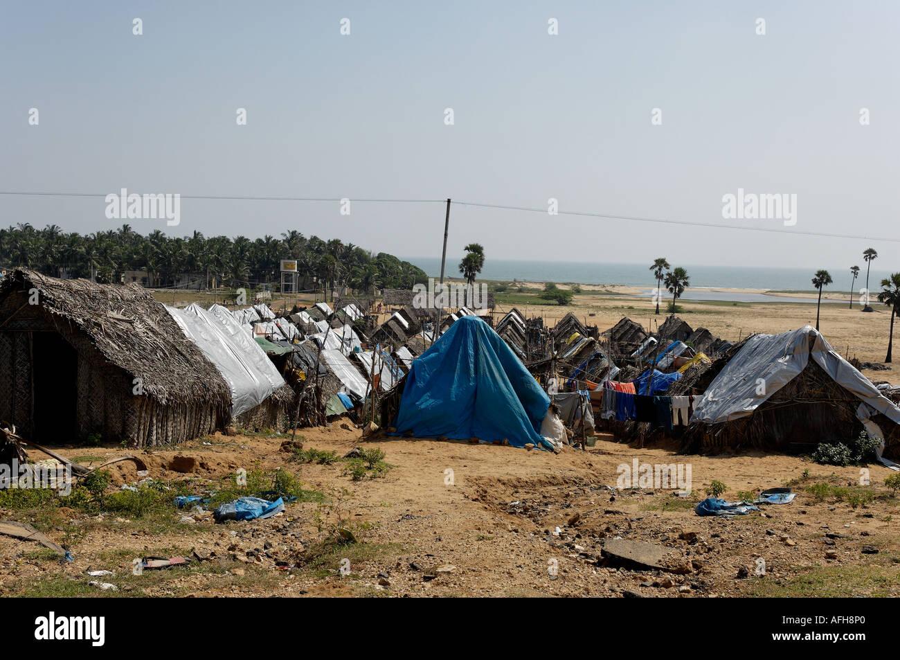 Tsunami survivors emergency housing, Chennai - Stock Image