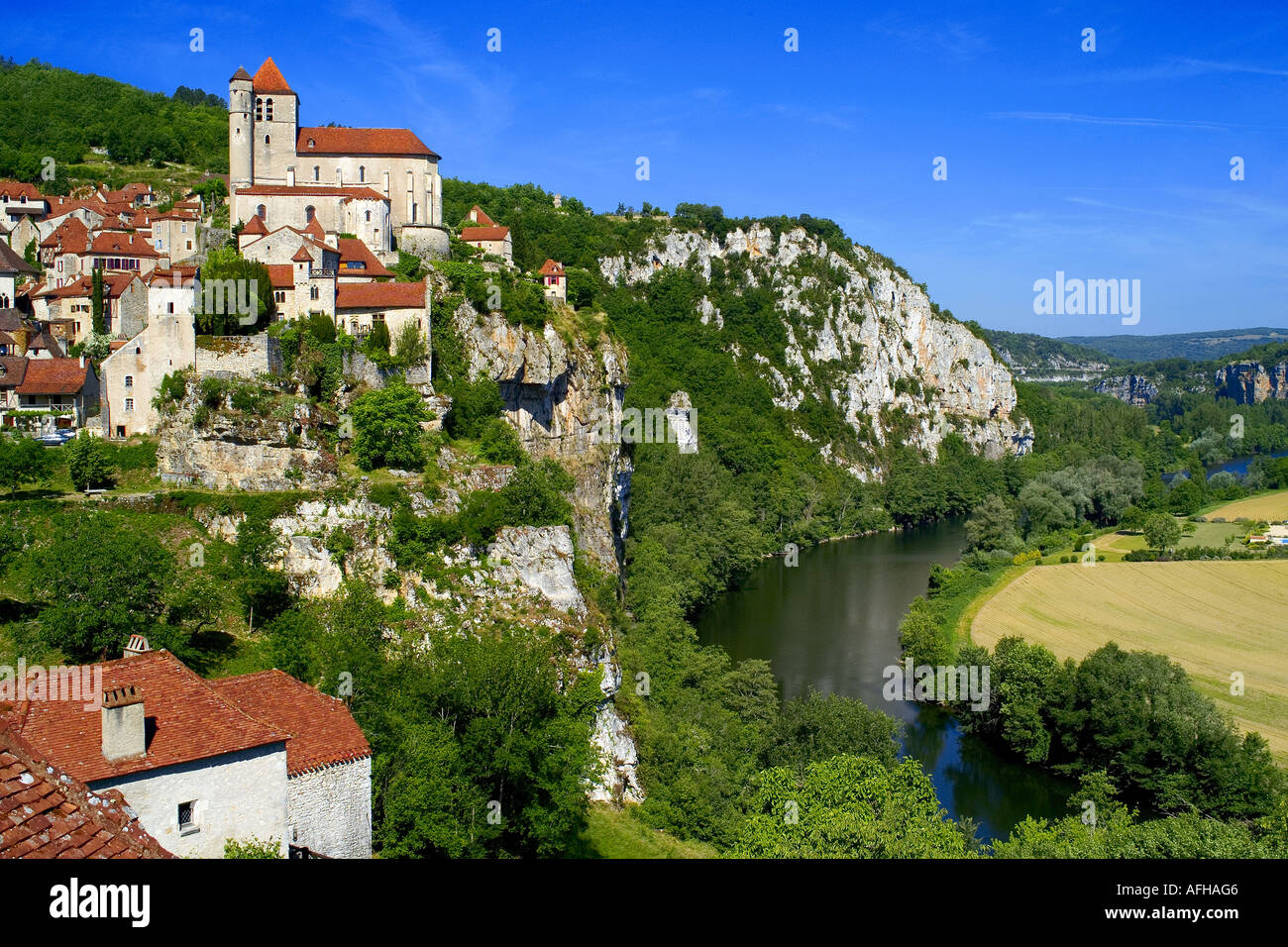 St Cirq Lapopie in Lot Valley France - Stock Image