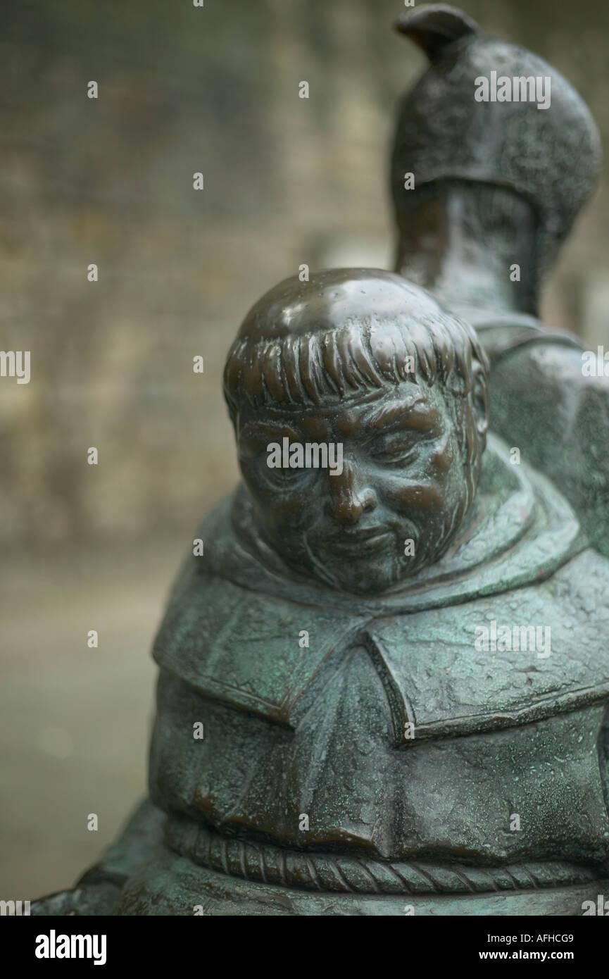 Friar Tuck brass at nottingham castle - Stock Image