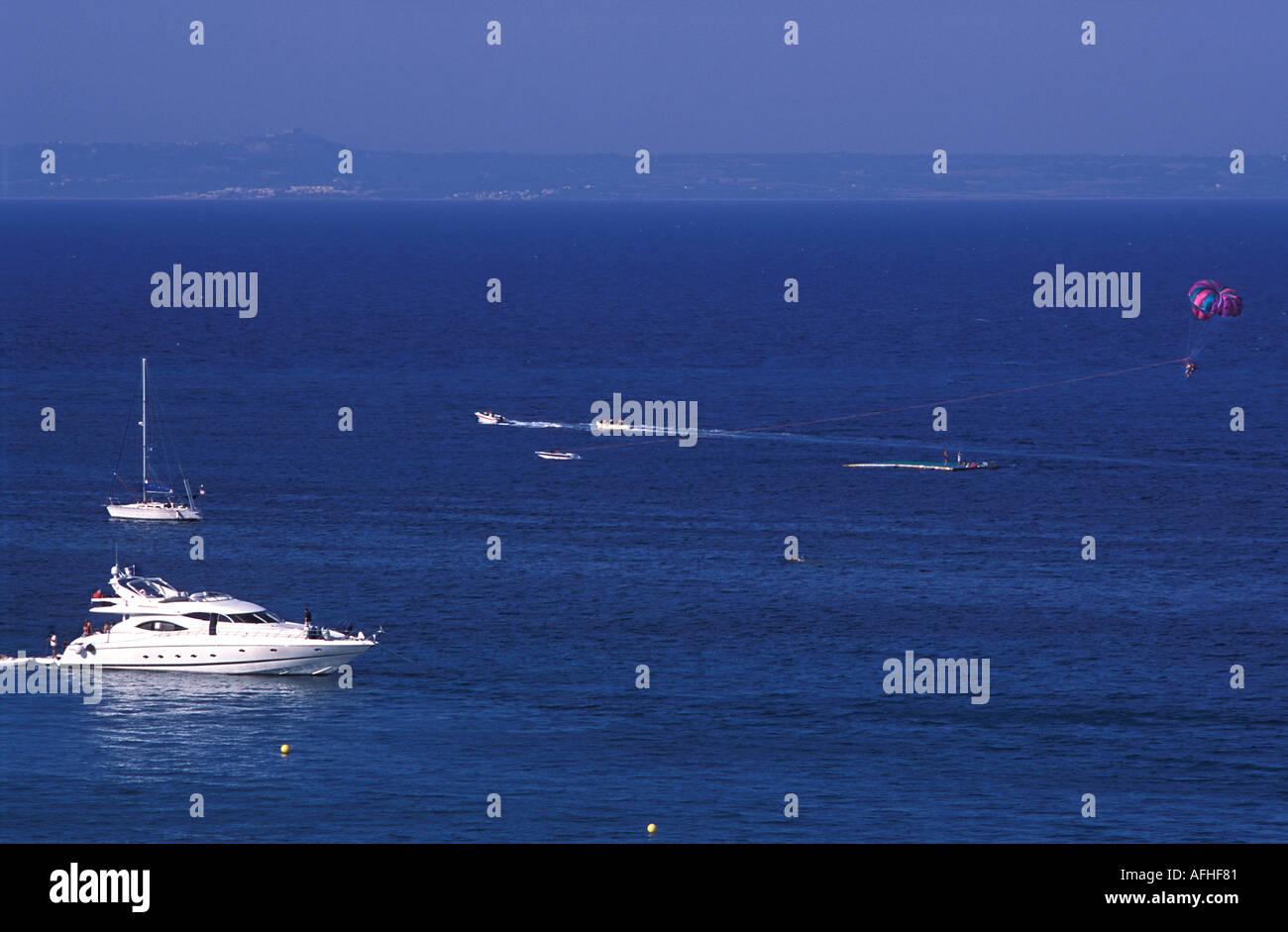 Power boat at sea cruising the Mediterranean off the coast of Zakynthos island Ionian islands Greece Europe - Stock Image