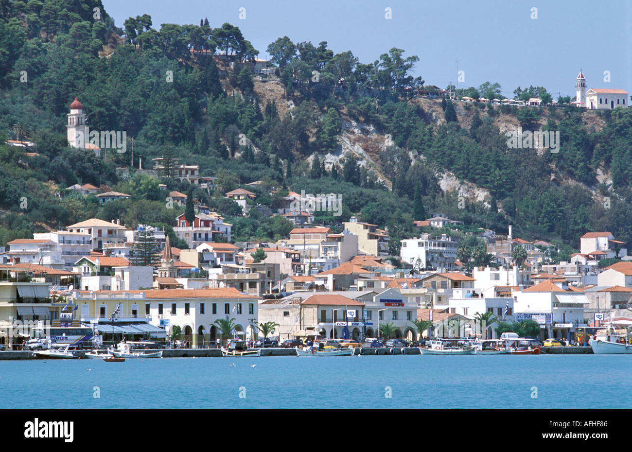Zakynthos town waterfront viewed from a boat Zakynthos island also known as Zante Ionian Islands Greece Mediterranean Sea - Stock Image