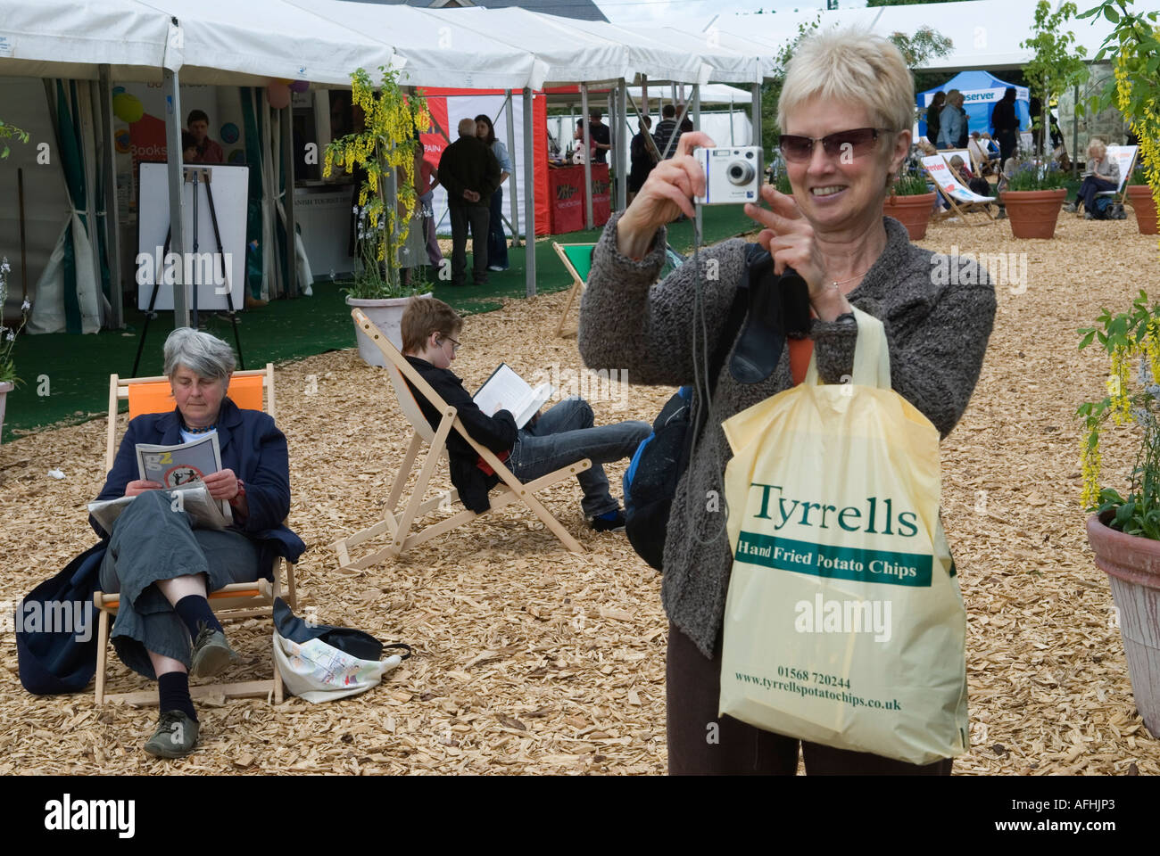 Festival goers at the festival site The Hay Festival Hay on Wye Powys Wales Great Britain - Stock Image