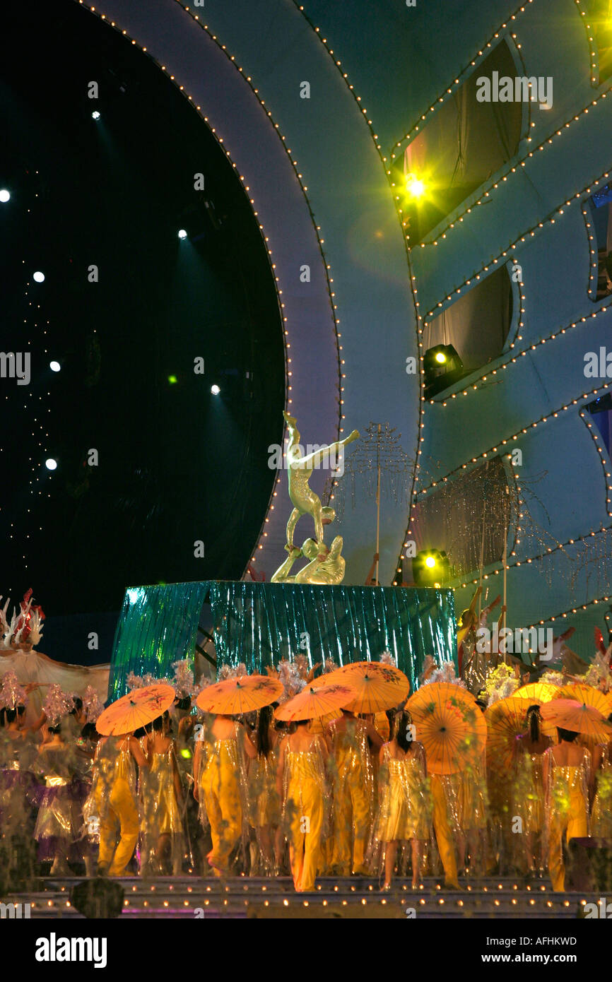 West Lake Expo, Hangzhou, China: Girl students in costumes perform at the opening ceremony. - Stock Image