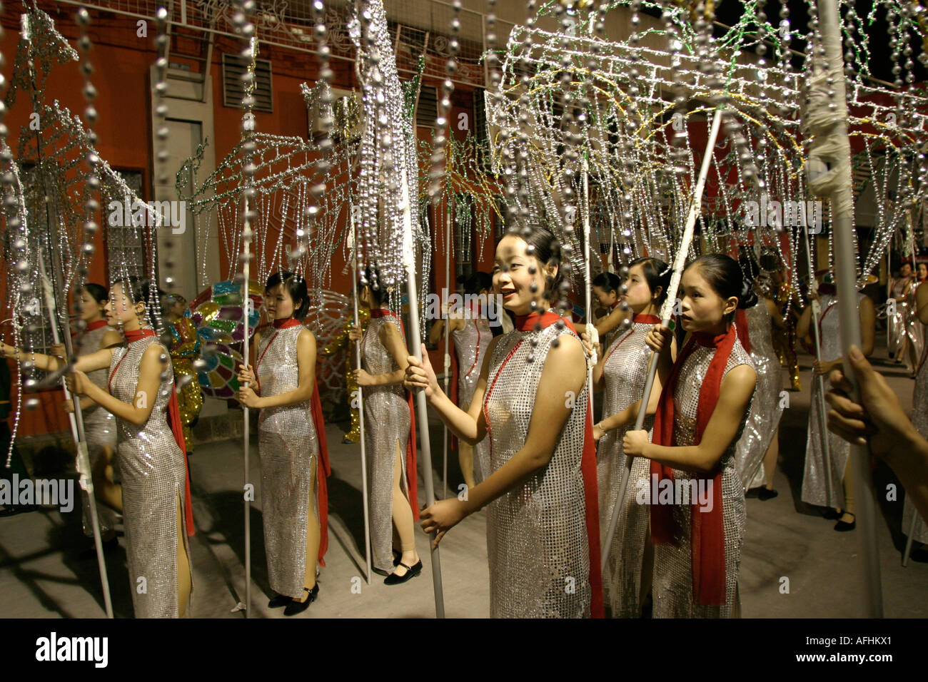 West Lake Expo, Hangzhou, China: Girl students in costumes prepare backstage to perform at the opening ceremony. - Stock Image