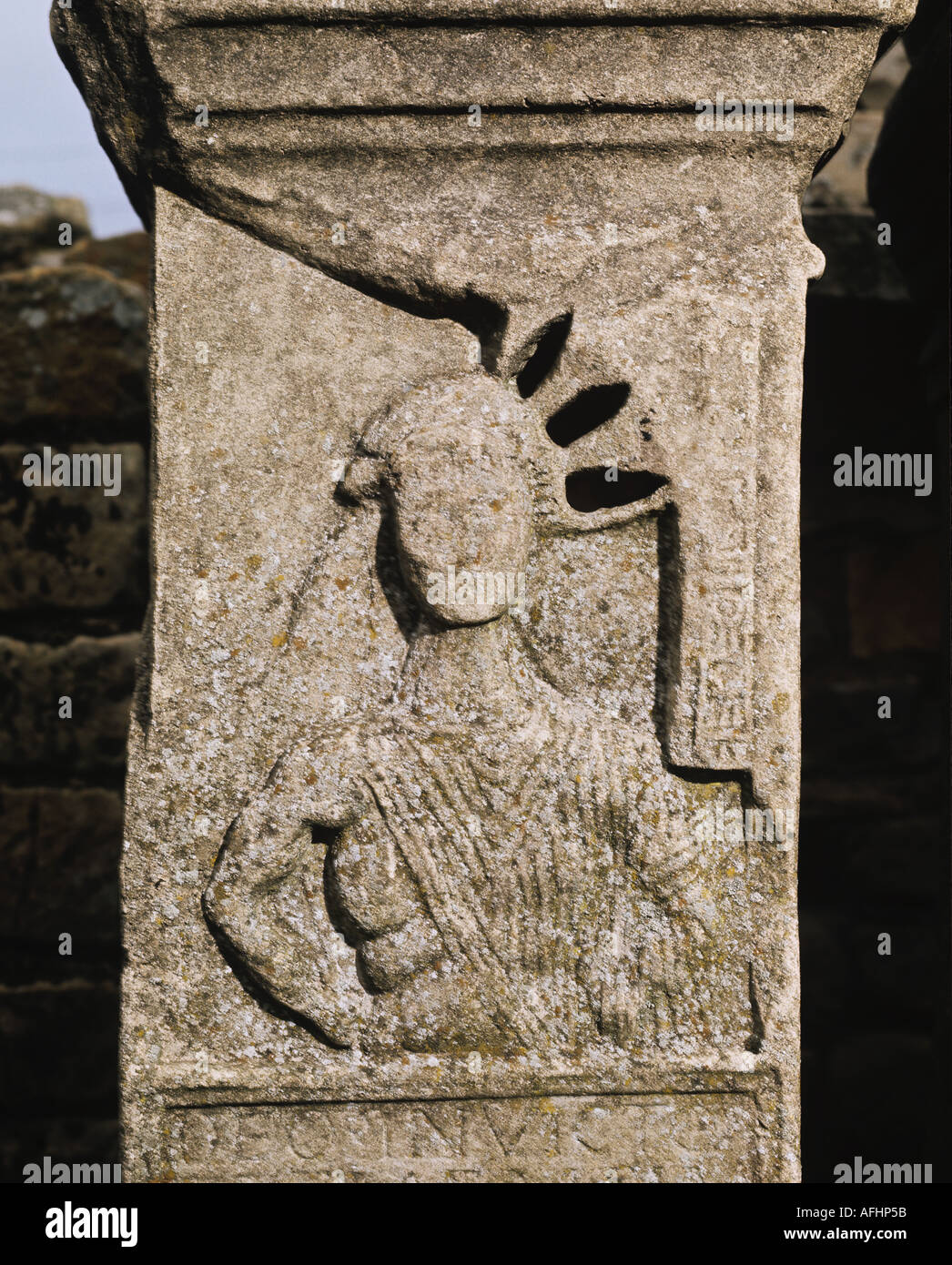 Carved stone figure from Temple of Mithras at Carrawburgh near Hadrian s Wall Northumberland - Stock Image